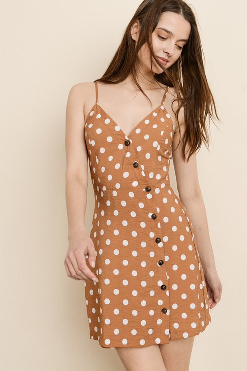 f3df27e7 burnt orange dress. burnt orange dress; Burnt Orange Button Down Dress with Polka  Dots ...