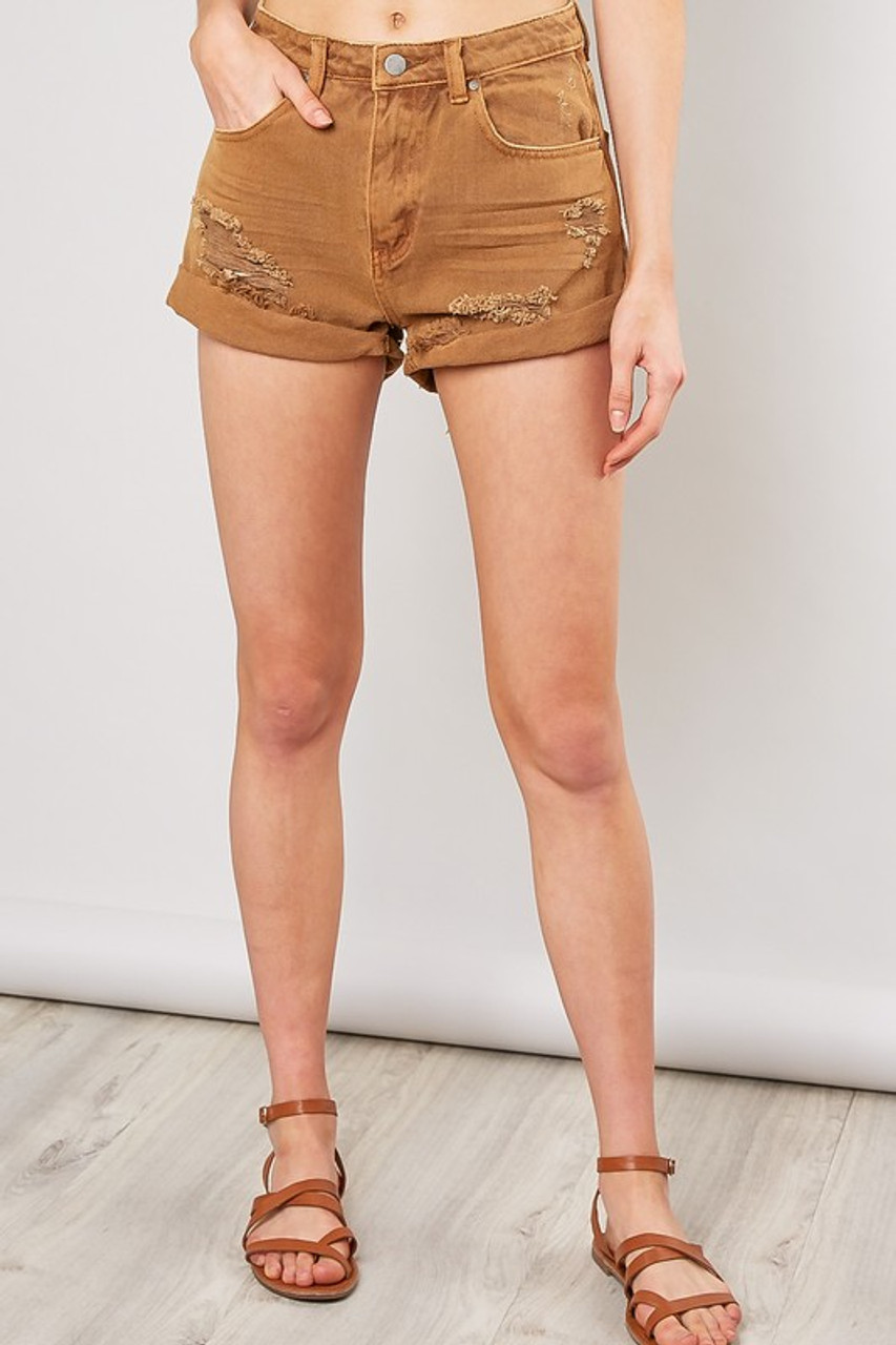 baf5313c7f99 Burnt Orange Distressed Jean Shorts - Longhorn Fashions