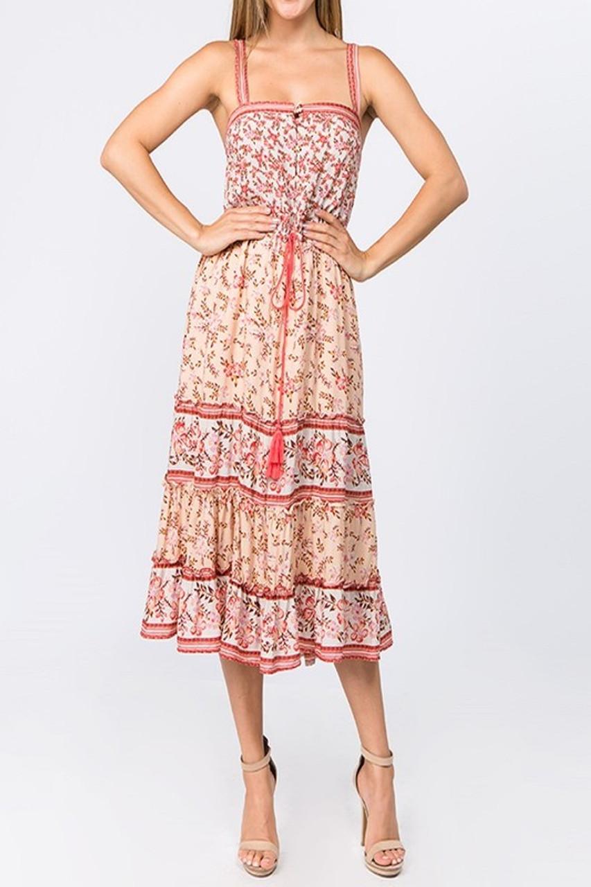 75a18e6cdc65 Floral Print Midi Dress - Longhorn Fashions