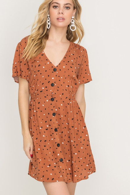 73c52b10 Burnt Orange Printed Button Down Dress - Longhorn Fashions