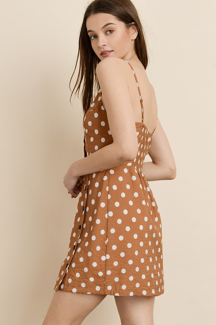 ce2894bd burnt orange dress; Burnt Orange Button Down Dress with Polka Dots ...