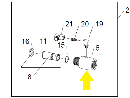 Item Location on WetBlast Flex Nozzle Adaptor Injector Assembly