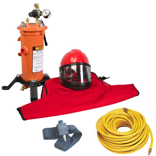 Clemco Apollo 60 HP Supplied Air Respirator with ACV, 50ft. Air Hose and CPF 20 Air Filter