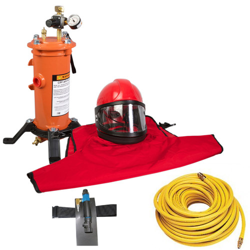 Clemco Apollo 60 HP Supplied Air Respirator with CCAC, 50ft. Air Hose and CPF-20 Air Filter