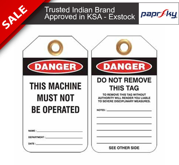 Lockout Tag Danger This Machine Must Not Be Operated علامات السلامة