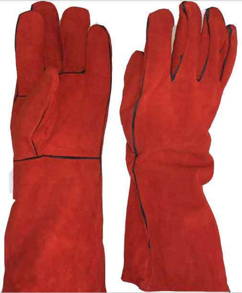 Red Welding Gloves long with piping  (Heavy Duty)