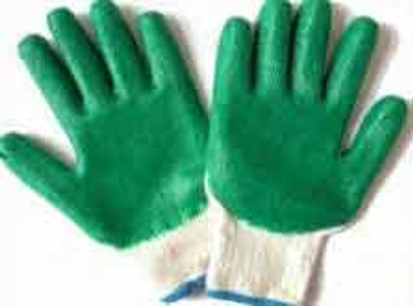 Latex Coated Gloves-Green Heavy Duty 10""