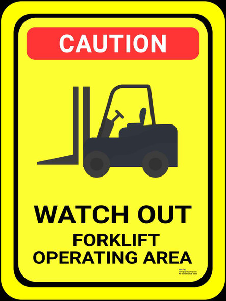 Safety sign - Watch out forklift operating area