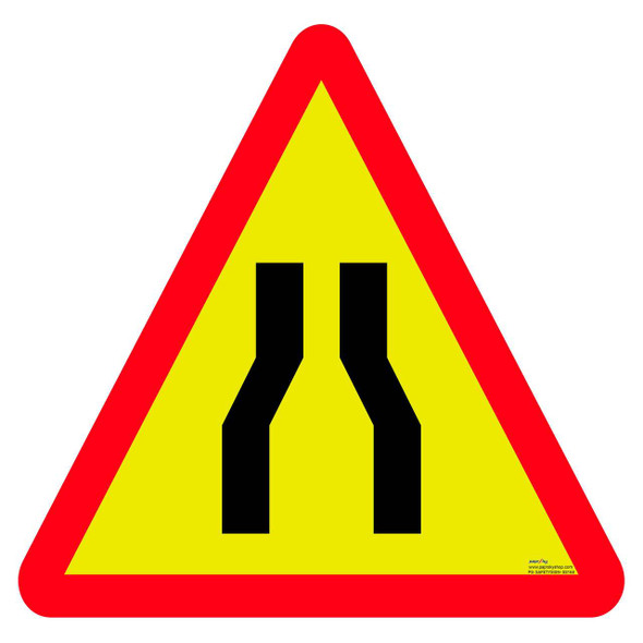 Safety sign - Narrow road ahead