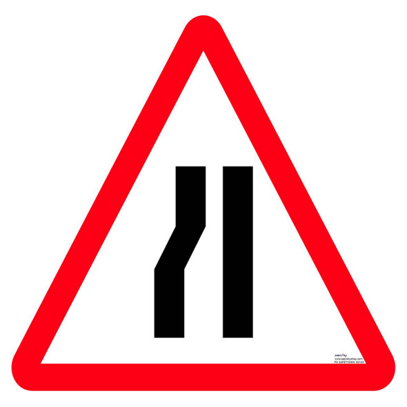 Safety sign - Road narrows one side
