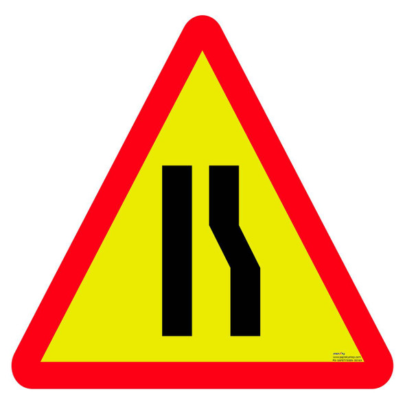 Safety sign - Road narrows one side 3