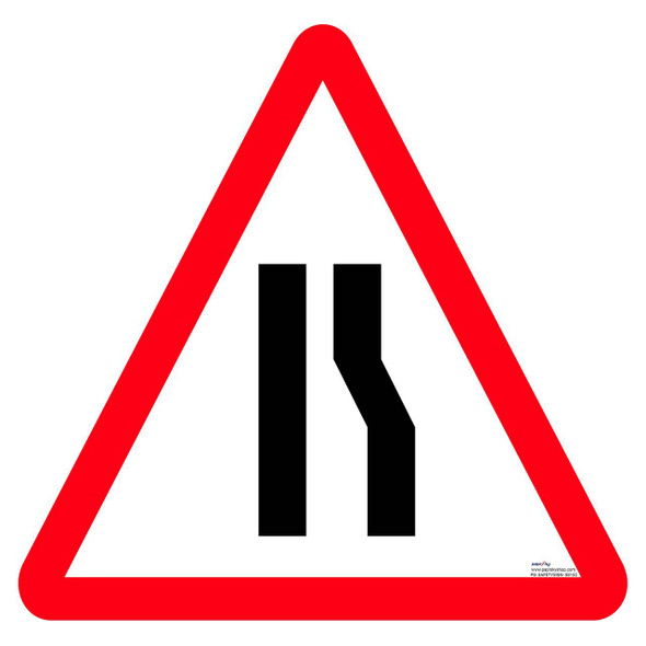 Safety sign - Road narrows one side 2