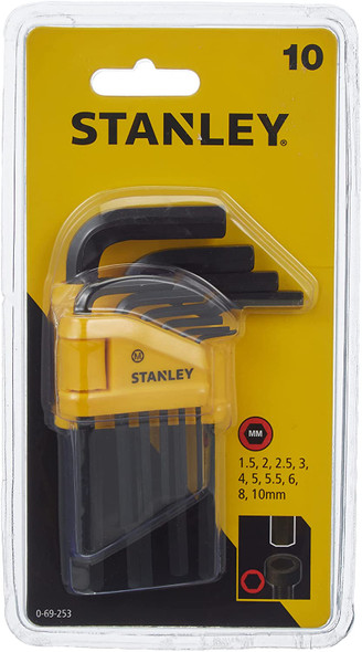 10 pieces Straight Male Elbow Hex Key Sets 1.5 - 2 - 2.5 - 3 - 4 - 5 - 5.5 - 6 - 8 -10mm 0-69-253