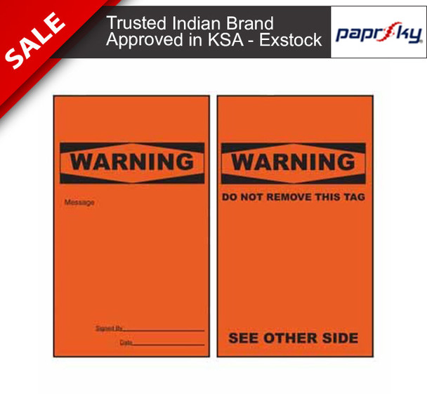 Lockout Tag Tear Proof Double Sided TDT156TP - Warning Do Not Remove This Tag علامات السلامة