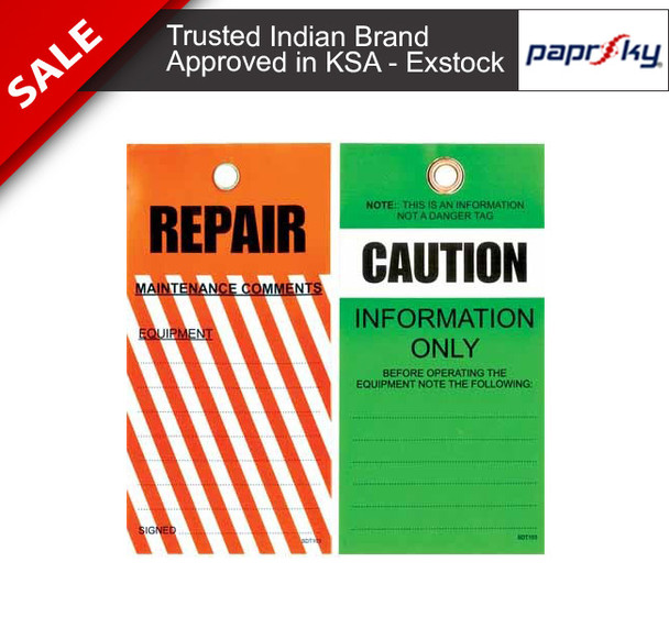 Lockout Tag Tear Proof Double Sided TDT103TP - Caution Repairعلامات السلامة