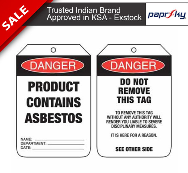 Lockout Tag Danger Product Contains Asbestos علامات السلامة
