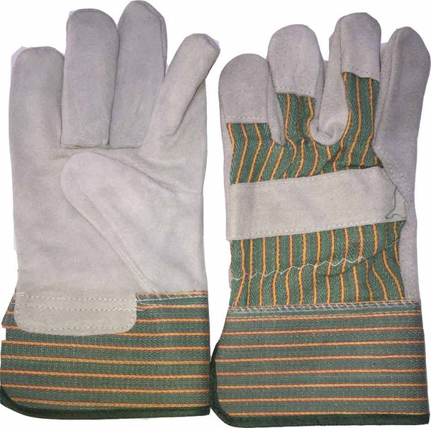 Green Strip Double Palm Working Glove Heavy Duty 11""