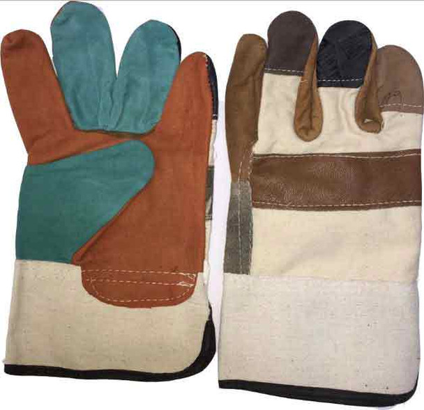 Multi color Double Palm Working Glove Heavy Duty 11""