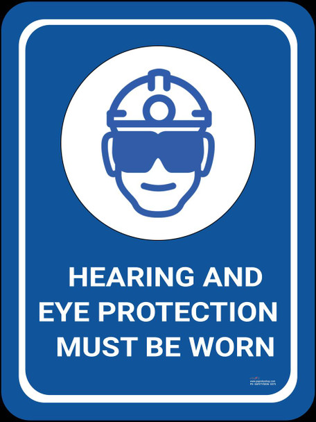 Safety sign - Hearing and eye protection must be warn