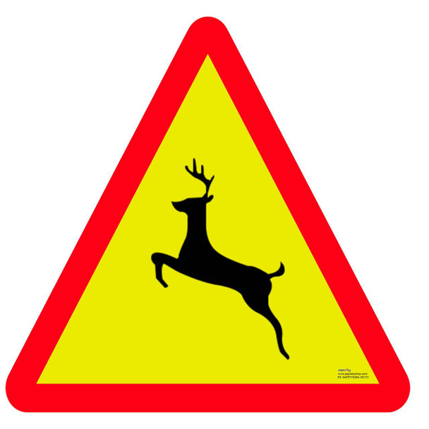 Safety sign - Wild animal crossing