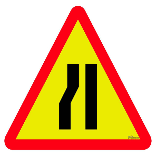 Safety sign - Road narrows one side 4