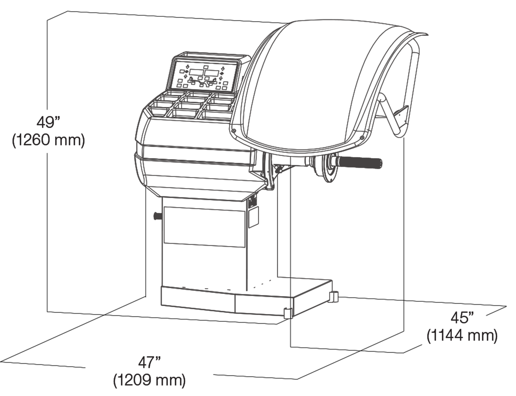 Cemb ER71 Auto Data Entry Wheel Balancer Dimensions