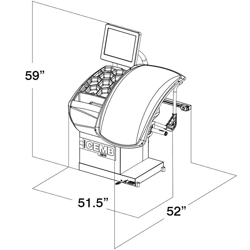 Cemb ER75TD HubMatch Diagnostic Manual Clamping RFV Wheel Balancer Dimensions