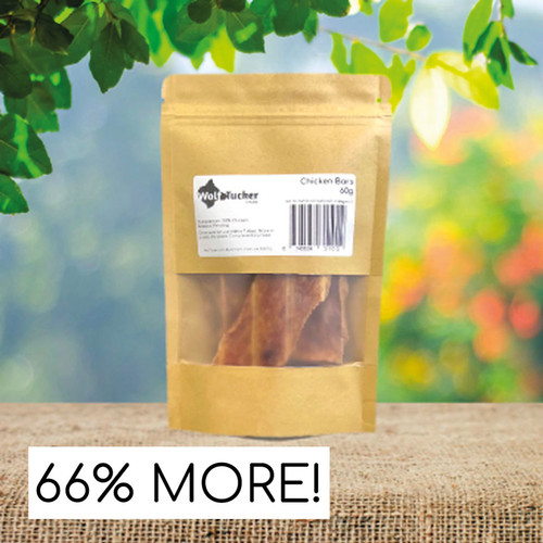 These high quality, healthy bars contain important vitamins and minerals which help form part of your dogs daily nutrient requirements. Chicken is a lean meat so can be useful for dogs that are on a calorie restricted diet.