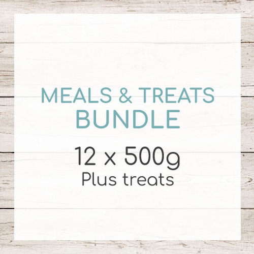 Our meals and treats bundle gives your dog a taste of every complete meal we have on our menu, as well as a tasty treat bundle.