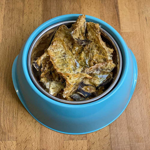 Our natural low calorie fish jerky has a rough texture which not only help remove tartar from your dog's teeth but have a taste dogs adore!