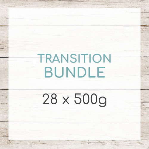 Our Transition Bundle gives your dog absolutely everything they require to safely transition on to a raw diet. Be sure to read our New To Raw Guide to get all the information you need to transition your dog. You will also receive a transition guide with your bundle.