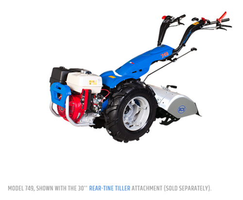 """Model 749 shown with the 30"""" Rear-Tine Tiller Attachment (sold separately)"""