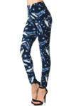 Brushed Blue Whale Plus Size Leggings - 3X-5X