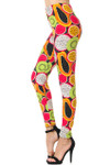 Brushed Colorful Tropical Fruit Plus Size Leggings