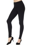 Brushed High Waisted Basic Solid Leggings - 5 Inch Waist