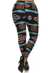 Back image of Brushed Plus Size Sacred Tribal Leggings