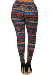 Brushed Tulum Tribal Plus Size Leggings - 3X - 5X