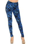 Brushed Vibrant Blue Music Note Plus Size Leggings - 3X-5X