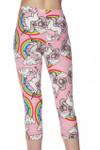 Brushed Pink Rainbow Unicorn Capris