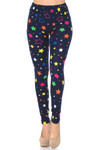 Soft Brushed Colorful Stars Plus Size Leggings