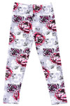 Soft Brushed Blooming Rose Skull Kids Leggings