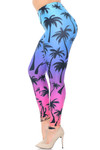 Creamy Soft Ombre Palm Tree Extra Plus Size Leggings - 3X-5X - USA Fashion™