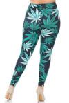 Creamy Soft Black Weed Plus Size Leggings - USA Fashion™
