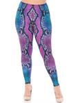Creamy Soft Pink and Blue Snakeskin Extra Plus Size Leggings - 3X-5X - USA Fashion™