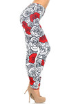 Creamy Soft Red Stencil Roses Leggings - USA Fashion™