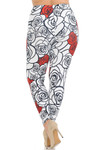 Creamy Soft Red Stencil Roses Extra Plus Size Leggings - 3X-5X - USA Fashion™