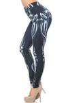 Creamy Soft Black Bio Mechanical Skeleton Leggings (Steam Punk) - USA Fashion™