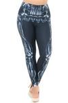 Creamy Soft Black Bio Mechanical Skeleton Extra Plus Size Leggings (Steam Punk) - 3X-5X - USA Fashion™