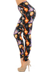 Brushed Pumpkins Witch's Watercolor Halloween Leggings