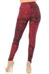 Brushed Rouge Holiday Leaf Extra Plus Size Leggings - 3X-5X